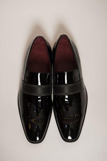 Hugo Boss Patent Leather Slip On With Grosgrain Band